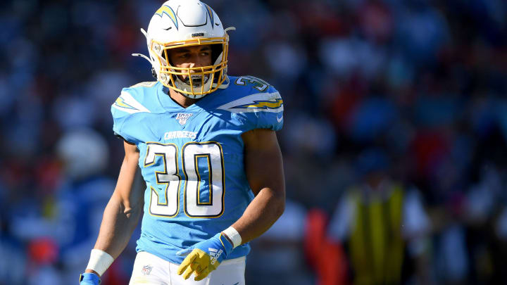 CARSON, CALIFORNIA – OCTOBER 06: Austin Ekeler #30 of the Los Angeles Chargers waits for the start of play during a 20-13 loss to the Denver Broncos at Dignity Health Sports Park on October 06, 2019 in Carson, California. (Photo by Harry How/Getty Images)
