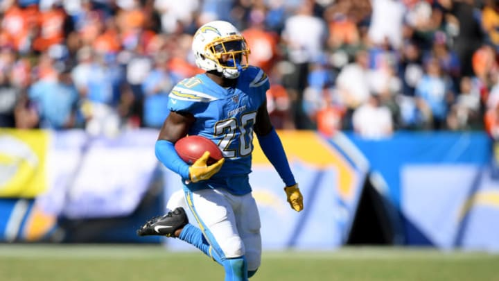 CARSON, CALIFORNIA - OCTOBER 06: Desmond King #20 of the Los Angeles Chargers scores a touchdown from a punt return, to trail 17-7 to the Denver Broncos, during the third quarter in a 20-13 Broncos win at Dignity Health Sports Park on October 06, 2019 in Carson, California. (Photo by Harry How/Getty Images)