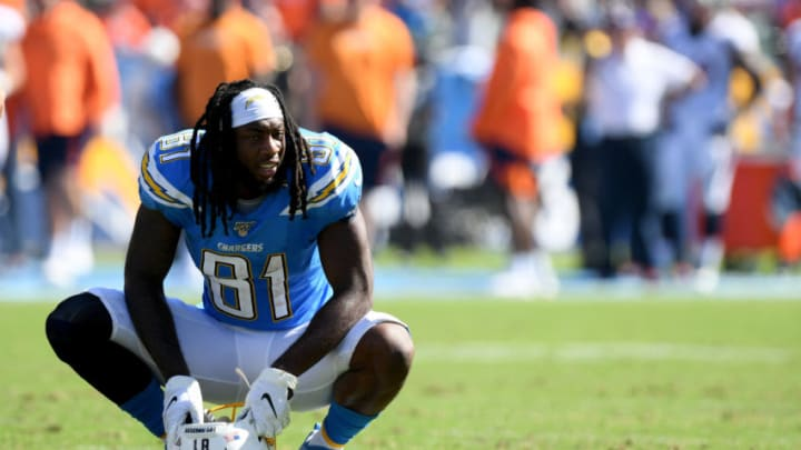 CARSON, CALIFORNIA - OCTOBER 06: Mike Williams #81 of the Los Angeles Chargers rests on the field during a 20-13 loss to the Denver Broncos at Dignity Health Sports Park on October 06, 2019 in Carson, California. (Photo by Harry How/Getty Images)