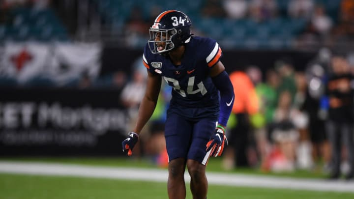 MIAMI, FLORIDA - OCTOBER 11: Bryce Hall #34 of the Virginia Cavaliers lines up on defense against the Miami Hurricanes in the first half at Hard Rock Stadium on October 11, 2019 in Miami, Florida. (Photo by Mark Brown/Getty Images)
