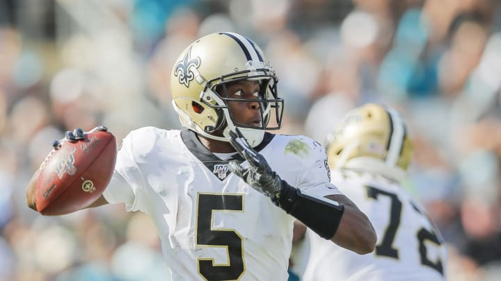 JACKSONVILLE, FLORIDA – OCTOBER 13: Teddy Bridgewater #5 of the New Orleans Saints throws a pass during the third quarter of a game against the Jacksonville Jaguars at TIAA Bank Field on October 13, 2019, in Jacksonville, Florida. (Photo by James Gilbert/Getty Images)