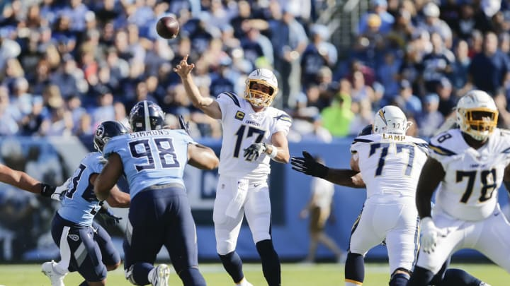 NASHVILLE, TENNESSEE – OCTOBER 20: Philip Rivers #17 of the Los Angeles Chargers throws a pass against the Tennessee Titans during the first quarter of the game at Nissan Stadium on October 20, 2019 in Nashville, Tennessee. (Photo by Silas Walker/Getty Images)