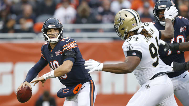 CHICAGO, ILLINOIS – OCTOBER 20: Mitchell Trubisky #10 of the Chicago Bears is pressured by Cameron Jordan #94 of the New Orleans Saints during the second quarter at Soldier Field on October 20, 2019, in Chicago, Illinois. (Photo by Nuccio DiNuzzo/Getty Images)