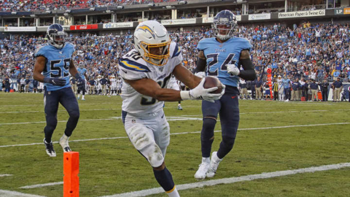 NASHVILLE, TENNESSEE - OCTOBER 20: Austin Ekeler #30 of the Los Angeles Chargers makes a touchdown reception against the Tennessee Titans during the second half at Nissan Stadium on October 20, 2019 in Nashville, Tennessee. (Photo by Frederick Breedon/Getty Images)