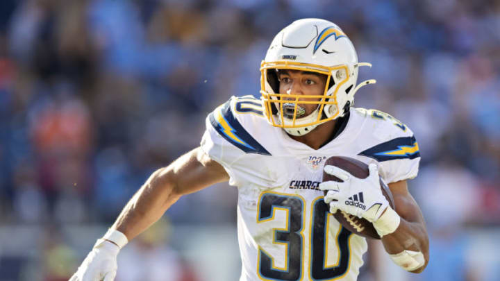 NASHVILLE, TN - OCTOBER 20: Austin Ekeler #30 of the Los Angeles Chargers runs the ball during a game against the Tennessee Titans at Nissan Stadium on October 20, 2019 in Nashville, Tennessee. The Titans defeated the Chargers 23-20. (Photo by Wesley Hitt/Getty Images)