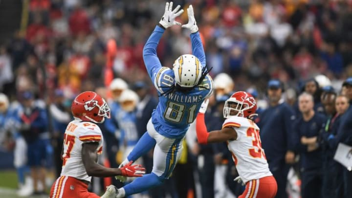 Los Angeles Chargers wide receiver Mike Williams catches the ball during the 2019 NFL week 11 regular season football game between Kansas City Chiefs and Los Angeles Chargers on November 18, 2019, at the Azteca Stadium in Mexico City. (Photo by PEDRO PARDO / AFP) (Photo by PEDRO PARDO/AFP via Getty Images)