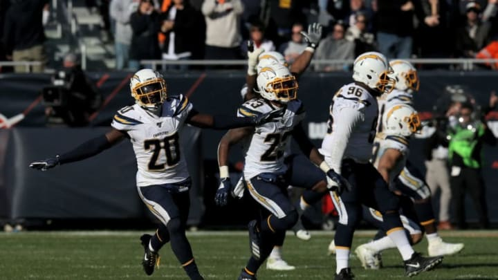 CHICAGO, ILLINOIS - OCTOBER 27: The Los Angeles Chargers celebrate after beating the Chicago Bears 17-16 at Soldier Field on October 27, 2019 in Chicago, Illinois. (Photo by Dylan Buell/Getty Images)