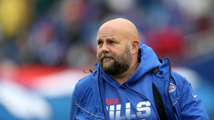 ORCHARD PARK, NEW YORK - OCTOBER 27: Offensive Coordinator Brian Daboll of the Buffalo Bills walks to the field before an NFL game against the Philadelphia Eagles at New Era Field on October 27, 2019 in Orchard Park, New York. (Photo by Bryan M. Bennett/Getty Images)