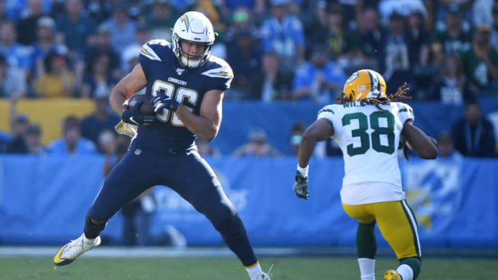 CARSON, CALIFORNIA - NOVEMBER 03: Hunter Henry #86 of the Los Angeles Chargers makes a reception during the first half against the Green Bay Packers at Dignity Health Sports Park on November 03, 2019 in Carson, California. (Photo by Harry How/Getty Images)