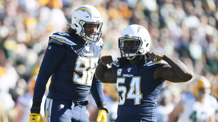 CARSON, CALIFORNIA – NOVEMBER 03: Melvin Ingram III #54 of the Los Angeles Chargers celebrates a sack during the second quarter against the Green Bay Packers at Dignity Health Sports Park on November 03, 2019 in Carson, California. (Photo by Harry How/Getty Images)