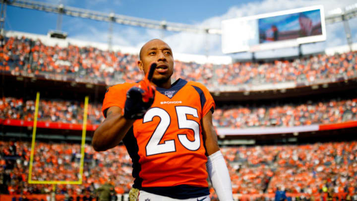DENVER, CO - NOVEMBER 03: Cornerback Chris Harris Jr. #25 of the Denver Broncos looks on before a game against the Cleveland Browns at Empower Field at Mile High on November 3, 2019 in Denver, Colorado. The Broncos defeated the Browns 24-19. (Photo by Justin Edmonds/Getty Images)