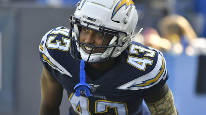 CARSON, CA - NOVEMBER 03: Michael Davis #43 of the Los Angeles Chargers seen before playing the Green Bay Packers at Dignity Health Sports Park on November 3, 2019 in Carson, California. Chargers won 26-11. (Photo by John McCoy/Getty Images)