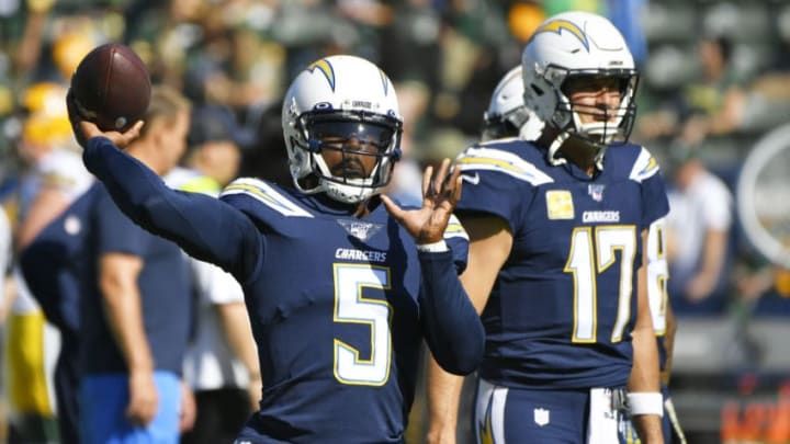 CARSON, CA - NOVEMBER 03: Tyrod Taylor #5 of the Los Angeles Chargers warms up before playing the Green Bay Packers at Dignity Health Sports Park on November 3, 2019 in Carson, California. Chargers won 26-11. (Photo by John McCoy/Getty Images)