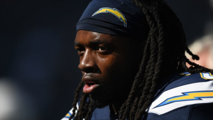 CARSON, CALIFORNIA - NOVEMBER 03: Melvin Gordon #25 of the Los Angeles Chargers before the game against the Green Bay Packers at Dignity Health Sports Park on November 03, 2019 in Carson, California. (Photo by Harry How/Getty Images)