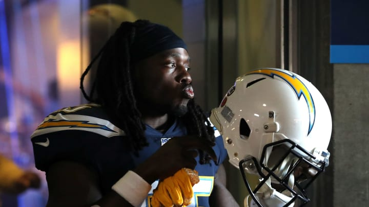 CARSON, CALIFORNIA – NOVEMBER 03: Melvin Gordon #25 of the Los Angeles Chargers walks onto the field prior to the first half of a game against the Green Bay Packers at Dignity Health Sports Park on November 03, 2019, in Carson, California. (Photo by Sean M. Haffey/Getty Images)
