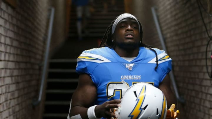 OAKLAND, CALIFORNIA - NOVEMBER 07: Melvin Gordon #25 of the Los Angeles Chargers walks out from the tunnel before the game against the Oakland Raiders at RingCentral Coliseum on November 07, 2019 in Oakland, California. (Photo by Lachlan Cunningham/Getty Images)