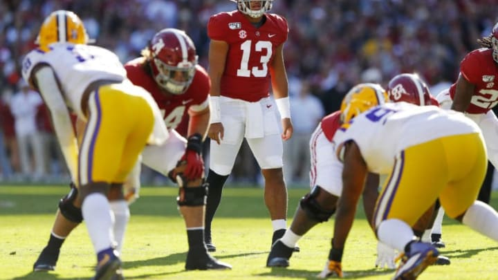 TUSCALOOSA, ALABAMA - NOVEMBER 09: Tua Tagovailoa #13 of the Alabama Crimson Tide looks on prior to the snap during the first quarter against the LSU Tigers in the game at Bryant-Denny Stadium on November 09, 2019 in Tuscaloosa, Alabama. (Photo by Kevin C. Cox/Getty Images)