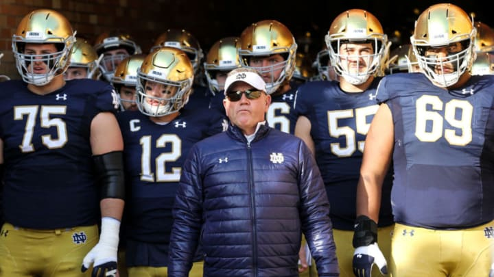 SOUTH BEND, INDIANA - NOVEMBER 16: Head coach Brian Kelly of the Notre Dame Fighting Irish looks on before the game against the Navy Midshipmen at Notre Dame Stadium on November 16, 2019 in South Bend, Indiana. (Photo by Dylan Buell/Getty Images)