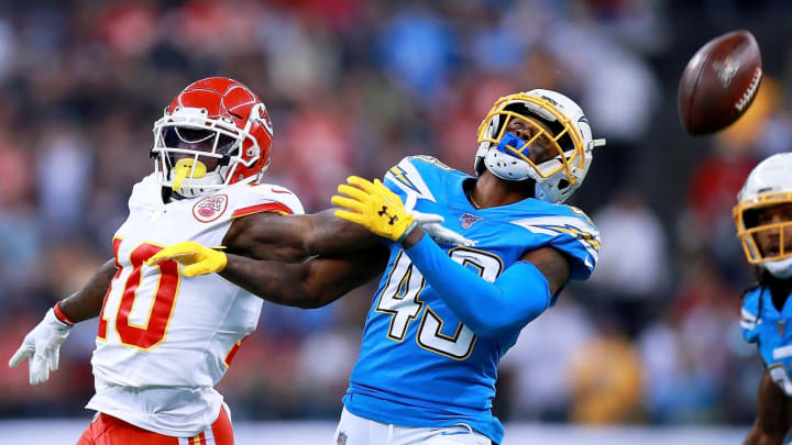 MEXICO CITY, MEXICO – NOVEMBER 18: Cornerback Michael Davis #43 of the Los Angeles Chargers breaks up a pass intended for wide receiver Tyreek Hill #10 of the Kansas City Chiefs during the game at Estadio Azteca on November 18, 2019 in Mexico City, Mexico. (Photo by Manuel Velasquez/Getty Images)