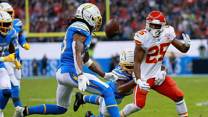 MEXICO CITY, MEXICO – NOVEMBER 18: Running back LeSean McCoy #25 of the Kansas City Chiefs fumbles the ball against the defense of the Los Angeles Chargers during the game at Estadio Azteca on November 18, 2019 in Mexico City, Mexico. (Photo by Manuel Velasquez/Getty Images)