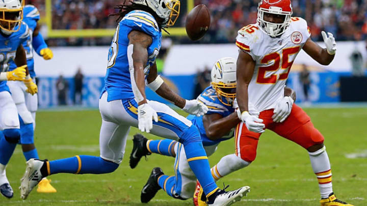 MEXICO CITY, MEXICO - NOVEMBER 18: Running back LeSean McCoy #25 of the Kansas City Chiefs fumbles the ball against the defense of the Los Angeles Chargers during the game at Estadio Azteca on November 18, 2019 in Mexico City, Mexico. (Photo by Manuel Velasquez/Getty Images)