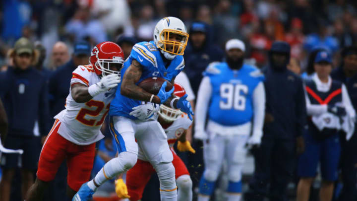 MEXICO CITY, MEXICO - NOVEMBER 18: Bashaud Breeland #21 of the Kansas City Chiefs in action against Keenan Allen #13 of the Los Angeles Chargers during the game between the Kansas City Chiefs and the Los Angeles Chargers at Estadio Azteca on November 18, 2019 in Mexico City, Mexico. (Photo by S. Lopez/Jam Media/Getty Images)