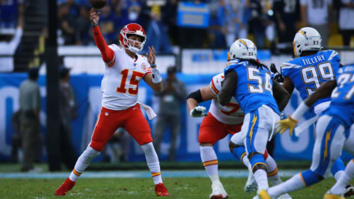 MEXICO CITY, MEXICO - NOVEMBER 18: Patrick Mahomes #15 of the Kansas City Chiefs thorws the ball during the game between the Kansas City Chiefs and the Los Angeles Chargers at Estadio Azteca on November 18, 2019 in Mexico City, Mexico. (Photo by S. Lopez/Jam Media/Getty Images)