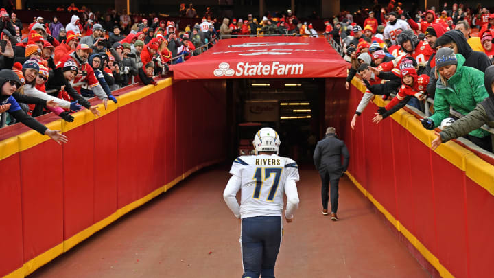KANSAS CITY, MO – DECEMBER 29: Quarterback Philip Rivers #17 of the Los Angeles Chargers runs up the tunnel after the Chargers loss 31-21 to the Kansas City Chiefs at Arrowhead Stadium on December 29, 2019, in Kansas City, Missouri. (Photo by Peter Aiken/Getty Images)