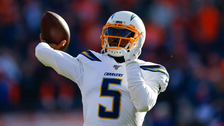 DENVER, CO – DECEMBER 01: Quarterback Tyrod Taylor #5 of the Los Angeles Chargers throws a pass before a game against the Denver Broncos at Empower Field at Mile High on December 1, 2019, in Denver, Colorado. The Broncos defeated the Chargers 23-20. (Photo by Justin Edmonds/Getty Images)