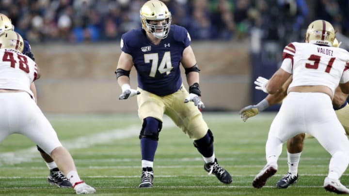 SOUTH BEND, IN - NOVEMBER 23: Liam Eichenberg #74 of the Notre Dame Fighting Irish blocks during a game against the Boston College Eagles at Notre Dame Stadium on November 23, 2019 in South Bend, Indiana. Notre Dame defeated Boston College 40-7. (Photo by Joe Robbins/Getty Images)