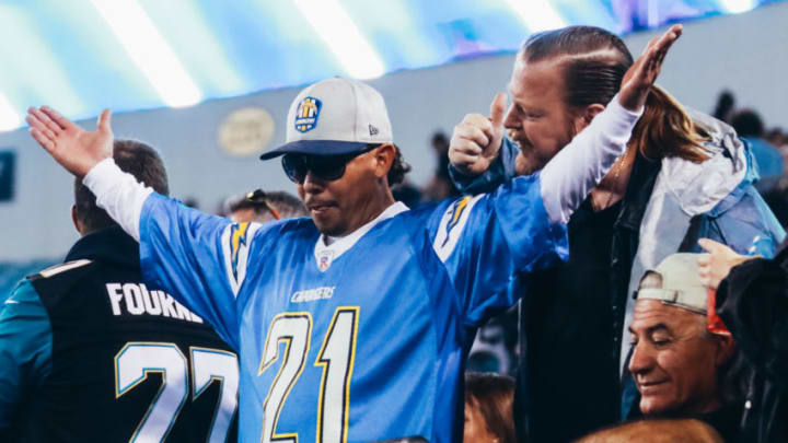 JACKSONVILLE, FLORIDA - DECEMBER 08: A fan of the Los Angeles Chargers riles the home crowd in the stands during action against the Jacksonville Jaguars at TIAA Bank Field on December 08, 2019 in Jacksonville, Florida. (Photo by Harry Aaron/Getty Images)
