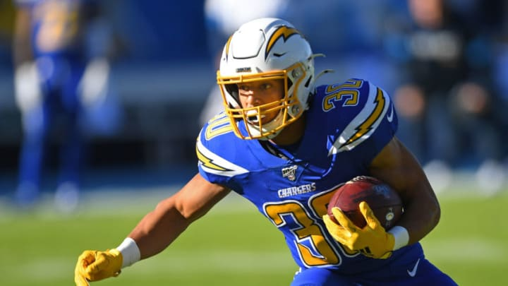 CARSON, CA - DECEMBER 15: Running back Austin Ekeler #30 of the Los Angeles Chargers carries the ball in game against the Minnesota Vikings at Dignity Health Sports Park on December 15, 2019 in Carson, California. (Photo by Jayne Kamin-Oncea/Getty Images)