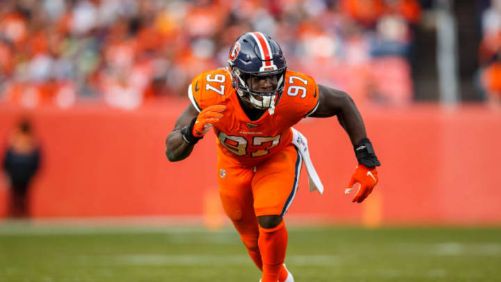 DENVER, CO - DECEMBER 22: Linebacker Jeremiah Attaochu #97 of the Denver Broncos rushes the passer against the Detroit Lions during the first quarter at Empower Field at Mile High on December 22, 2019 in Denver, Colorado. The Broncos defeated the Lions 27-17. (Photo by Justin Edmonds/Getty Images)