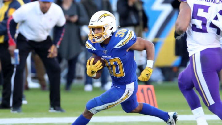 CARSON, CA - DECEMBER 15: Austin Ekeler #30 of the Los Angeles Chargers in action during the game against the Minnesota Vikings at Dignity Health Sports Park on December 15, 2019 in Carson, California. The Vikings defeated the Chargers 39-10. (Photo by Rob Leiter via Getty Images)