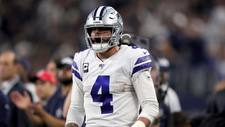 ARLINGTON, TEXAS – DECEMBER 29: Dak Prescott #4 of the Dallas Cowboys reacts in the third quarter against the Washington Redskins in the game at AT&T Stadium on December 29, 2019, in Arlington, Texas. (Photo by Tom Pennington/Getty Images)