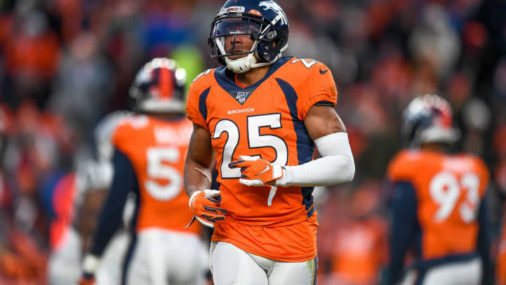 DENVER, CO - DECEMBER 29: Chris Harris Jr. #25 of the Denver Broncos plays defense against the Oakland Raiders at Empower Field at Mile High on December 29, 2019 in Denver, Colorado. (Photo by Dustin Bradford/Getty Images)