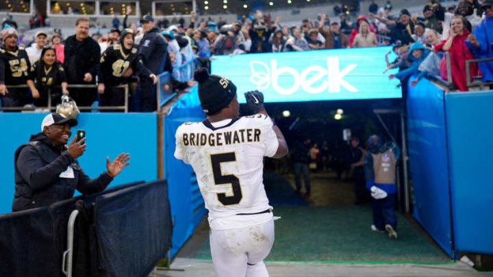 CHARLOTTE, NORTH CAROLINA - DECEMBER 29: Teddy Bridgewater #5 of the New Orleans Saints after their game against the Carolina Panthers at Bank of America Stadium on December 29, 2019 in Charlotte, North Carolina. (Photo by Jacob Kupferman/Getty Images)