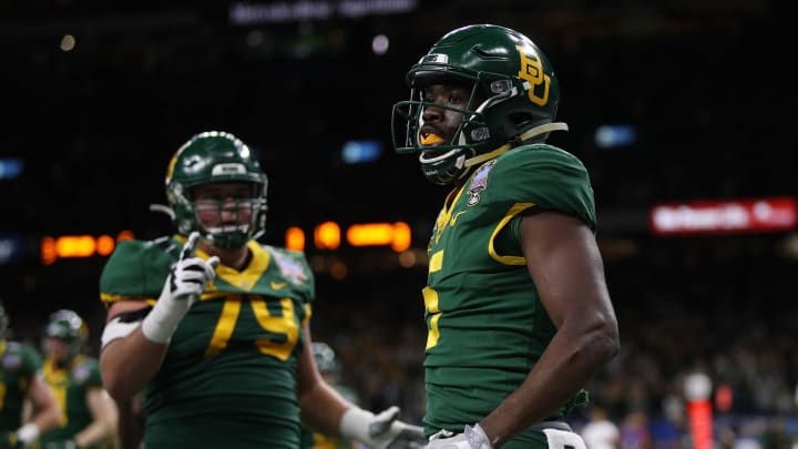 NEW ORLEANS, LOUISIANA – JANUARY 01: Denzel Mims #5 of the Baylor Bears reacts after a touchdown against the Georgia Bulldogs during the Allstate Sugar Bowl at Mercedes Benz Superdome on January 01, 2020, in New Orleans, Louisiana. (Photo by Chris Graythen/Getty Images)