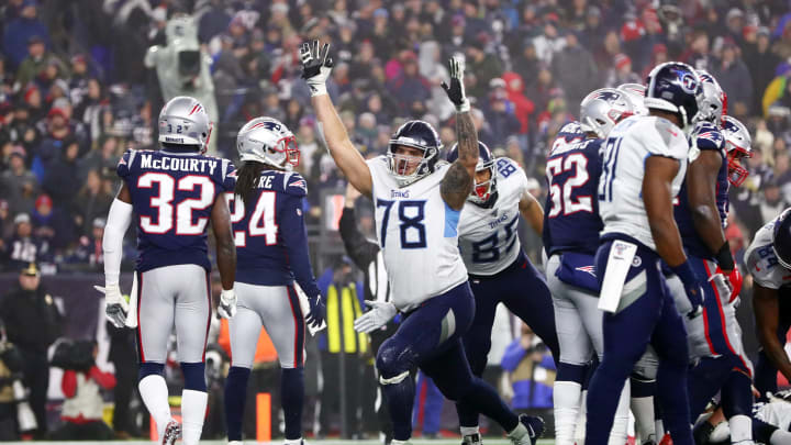 FOXBOROUGH, MASSACHUSETTS – JANUARY 04: Jack Conklin #78 of the Tennessee Titans reacts as they take on the New England Patriots in the first half o the AFC Wild Card Playoff game at Gillette Stadium on January 04, 2020 in Foxborough, Massachusetts. The Tennessee Titans won 20-13. (Photo by Adam Glanzman/Getty Images)