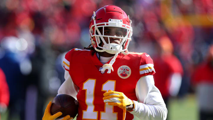 KANSAS CITY, MISSOURI – JANUARY 19: Demarcus Robinson #11 of the Kansas City Chiefs warms up before the AFC Championship Game against the Tennessee Titans at Arrowhead Stadium on January 19, 2020, in Kansas City, Missouri. (Photo by Tom Pennington/Getty Images)