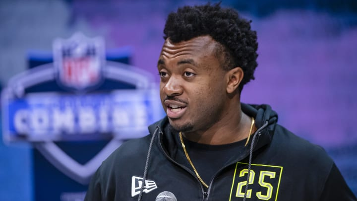 INDIANAPOLIS, IN – FEBRUARY 26: Austin Jackson #OL25 of the USC Trojans speaks to the media at the Indiana Convention Center on February 26, 2020, in Indianapolis, Indiana. (Photo by Michael Hickey/Getty Images)