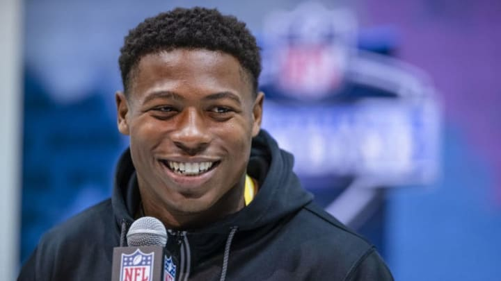 INDIANAPOLIS, IN - FEBRUARY 26: Joshua Kelley #RB16 of the UCLA Bruins speaks to the media at the Indiana Convention Center on February 26, 2020 in Indianapolis, Indiana. (Photo by Michael Hickey/Getty Images) *** Local caption *** Joshua Kelley
