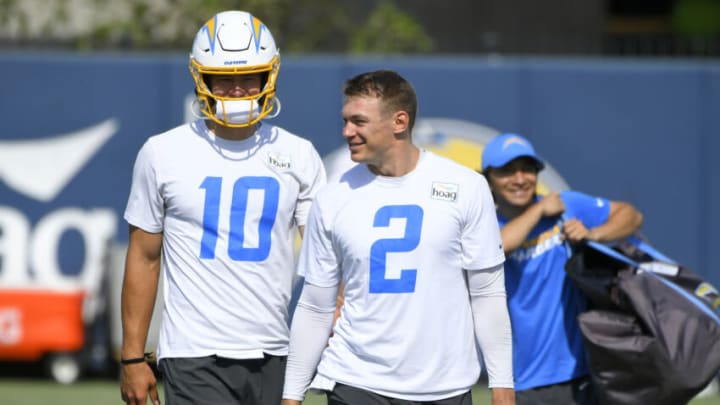 COSTA MESA, CA - JUNE 16: Justin Herbert #10 and Easton Stick #2 of the Los Angeles Chargers at mandatory minicamp at the Hoag Performance Center on June 16, 2021 in Costa Mesa, California. (Photo by John McCoy/Getty Images)