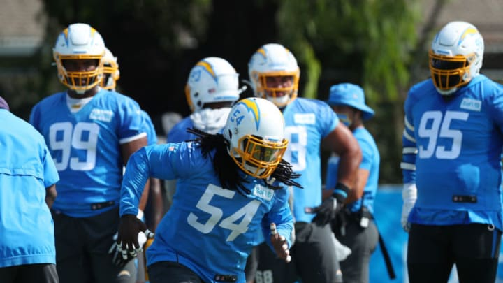 COSTA MESA, CALIFORNIA - AUGUST 25: Melvin Ingram III #54 of the Los Angeles Chargers runs a drill during Los Angeles Chargers Training Camp at the Jack Hammett Sports Complex on August 25, 2020 in Costa Mesa, California. (Photo by Joe Scarnici/Getty Images)