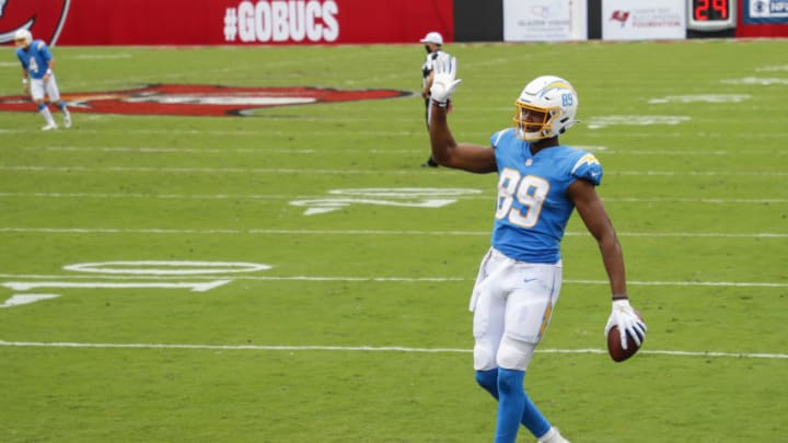 TAMPA, FLORIDA - OCTOBER 04: Donald Parham #89 of the Los Angeles Chargers celebrates after scoring a touchdown during the second quarter of a game against the Tampa Bay Buccaneers at Raymond James Stadium on October 04, 2020 in Tampa, Florida. (Photo by James Gilbert/Getty Images)