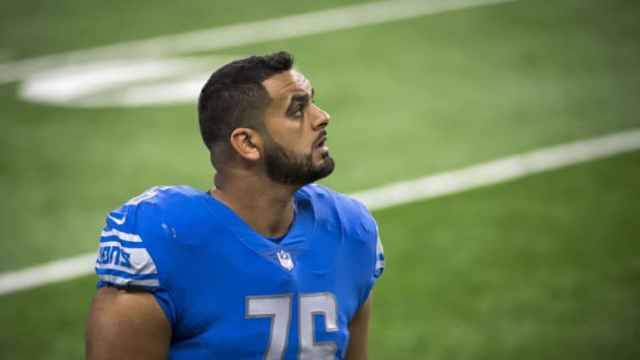 DETROIT, MI - OCTOBER 04: Oday Aboushi #76 of the Detroit Lions looks on during the fourth quarter against the New Orleans Saints at Ford Field on October 4, 2020 in Detroit, Michigan. (Photo by Nic Antaya/Getty Images)