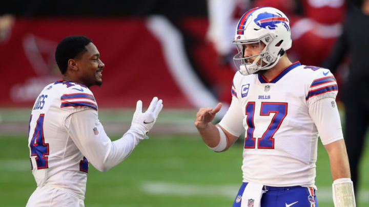 GLENDALE, ARIZONA - NOVEMBER 15: Quarterback Josh Allen #17 and wide receiver Stefon Diggs #14 of the Buffalo Bills talk before the NFL game against the Arizona Cardinals at State Farm Stadium on November 15, 2020 in Glendale, Arizona. The Cardinals defeated the Bills 32-30. (Photo by Christian Petersen/Getty Images)