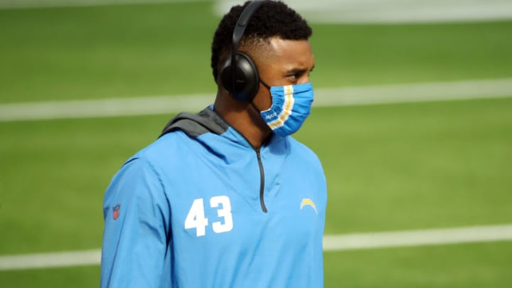 INGLEWOOD, CALIFORNIA - NOVEMBER 22: Michael Davis #43 of the Los Angeles Chargers looks on during warm ups before the game against the New York Jets at SoFi Stadium on November 22, 2020 in Inglewood, California. (Photo by Katelyn Mulcahy/Getty Images)