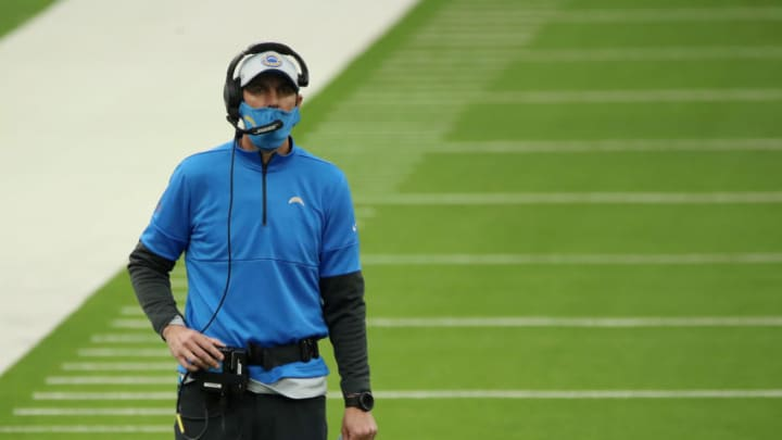 INGLEWOOD, CALIFORNIA - DECEMBER 06: Shane Steichen, Offensive Coordinator for the Los Angeles Chargers, looks on during the first half against the New England Patriots at SoFi Stadium on December 06, 2020 in Inglewood, California. (Photo by Katelyn Mulcahy/Getty Images)