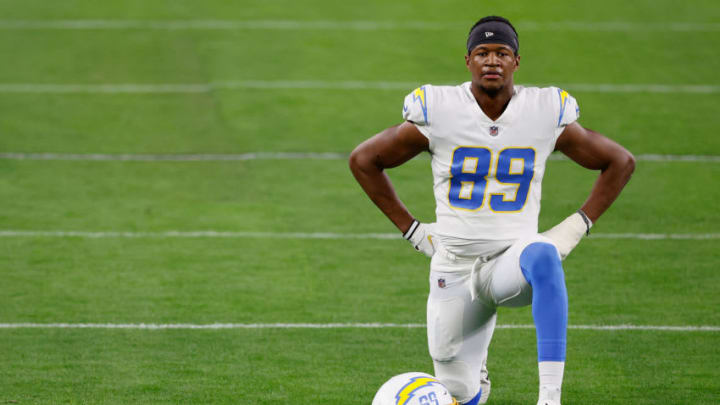 LAS VEGAS, NEVADA - DECEMBER 17: Tight end Donald Parham #89 of the Los Angeles Chargers warms up during the NFL game against the Las Vegas Raiders at Allegiant Stadium on December 17, 2020 in Las Vegas, Nevada. The Chargers defeated the Raiders in overtime 30-27. (Photo by Christian Petersen/Getty Images)